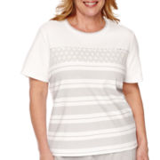Alfred Dunner® Santa Clara Short-Sleeve Lace Striped Top - Plus