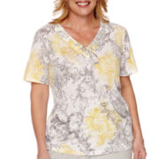 Alfred Dunner® Santa Clara Short-Sleeve Scroll Burnout Tee - Plus