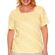 Alfred Dunner® Santa Clara Short-Sleeve Diagonal Ruffled Top - Plus