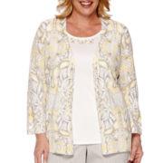 Alfred Dunner® Santa Clara 3/4-Sleeve Layered Top - Plus