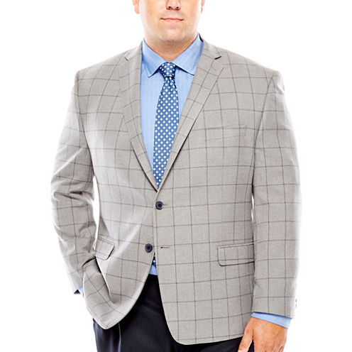 Collection by Michael Strahan Grey Windowpane Sport Coat-Big and Tall