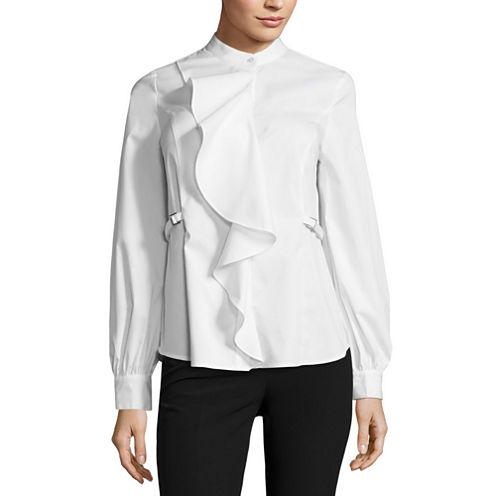 Worthington Long sleeve Ruffle Front Shirt