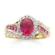 14K Gold Over Sterling Silver Ruby & White Sapphire Ring