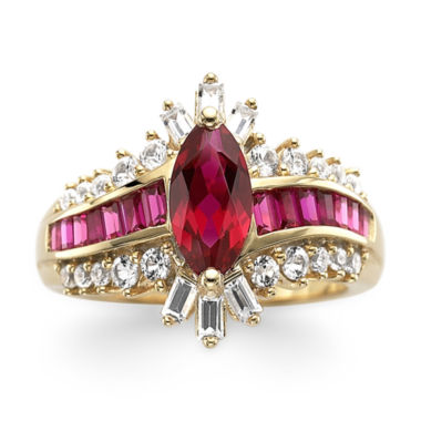 jcpenney.com | 14K Gold Over Silver Lab-Created Ruby & White Sapphire Ring