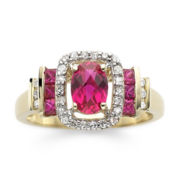 1/7 CT. T.W. Diamond & Glass-Filled Ruby 10K Gold Ring