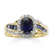 14K Gold Over Sterling Silver Blue & White Sapphire Ring