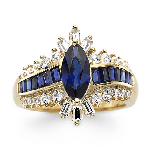Lab-Created Blue & White Sapphire 14K Gold Over Silver Cocktail Ring