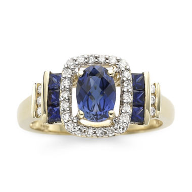 jcpenney.com | 1/7 CT. T.W. Diamond & Blue Sapphire 10K Gold Ring
