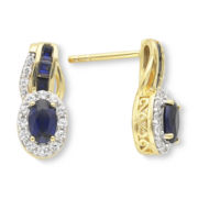 14K Gold Over Sterling Silver Blue & White Sapphire Earrings
