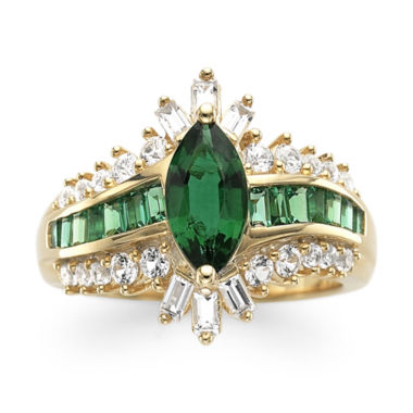 jcpenney.com | Lab-Created Emerald & White Sapphire 14K Gold Over Silver Cocktail Ring