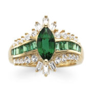 14K Gold Over Sterling Silver Lab Created Emerald & White Sapphire Ring
