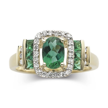 jcpenney.com | 1/7 CT. T.W. Diamond & Emerald 10K Gold Ring