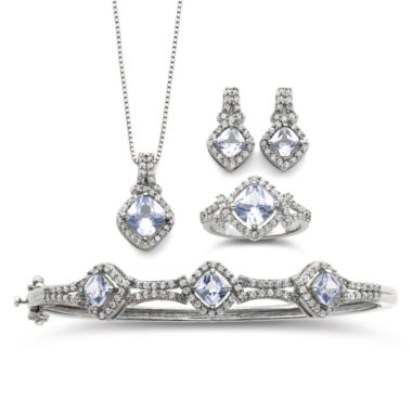 jcpenney.com | Simulated Aquamarine & Cubic Zirconia Boxed 4-pc. Jewelry Set