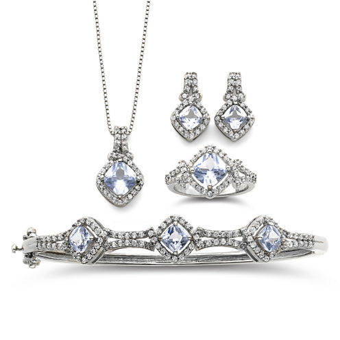 Simulated Aquamarine & Cubic Zirconia Boxed 4-pc. Jewelry Set