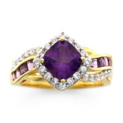 14K Gold Over Sterling Silver Amethyst & White Sapphire Ring