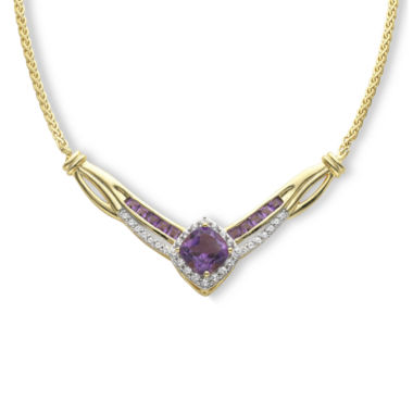 jcpenney.com | Genuine Amethyst and Lab-Created White Sapphire Yoke Necklace