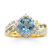 14K Gold Over Sterling Silver Blue Topaz & White Sapphire Ring