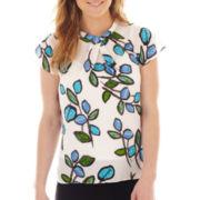 Liz Claiborne Cap-Sleeve Twist-Neck Blouse with Cami