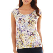 Liz Claiborne Short-Sleeve Peasant Top - Tall