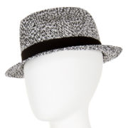Black and White Woven Fedora