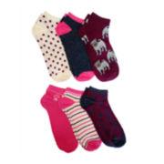 6-pk. Fashion Pug No-Show Socks