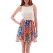 Bailey Blue Sleeveless Crochet-Inset Lace-and-Chiffon Dress