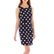 Alyx® Sleeveless Navy Polka Dot Sheath Dress