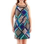 Sandra Darren Sleeveless Halter-Top Blouson Dress - Plus