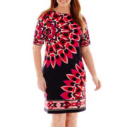 Sandra Darren 3/4-Sleeve Print Shift Dress - Plus
