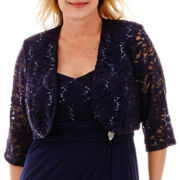 R&M Richards 3/4-Sleeve Jewel-Pin Jacket Dress - Plus