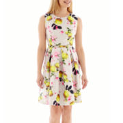 Liz Claiborne® Sleeveless Belted Floral Shantung Fit-and-Flare Dress - Petite