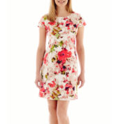 Liz Claiborne® Cap-Sleeve Textured Floral Print Dress - Petite