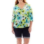 Stylus™ Peasant Top or Denim Bermuda Shorts - Plus