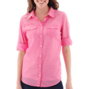 St. John's Bay® Elbow-Sleeve Roll-Tab Campshirt - Tall