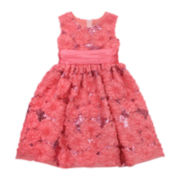 Rare Editions Coral Floral Sequin Dress – Preschool Girls 4-6x