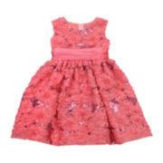 Rare Editions Coral Floral Sequin Dress – Preschool Girls 4-6x