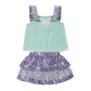 Little Lass 2-pc. Mint Top and Scooter Set - Preschool Girls 4-6x