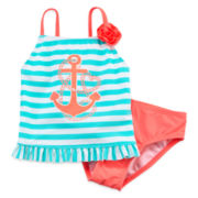 Breaking Waves 2-pc. Anchor Tankini – Girls 4-6x