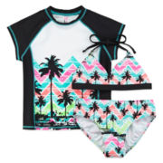 Breaking Waves Rash Guard and 2-pc. Swimsuit Set - Girls 7-16