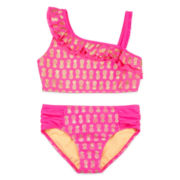 St. Tropez 2-pc. Pineapple-Print Ruffle Swimsuit – Girls 7-16