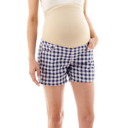 Tala Maternity Overbelly Plaid Denim Roll Cuff Shorts