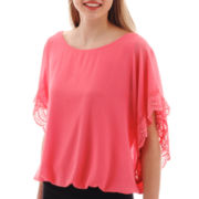 by&by Flutter-Sleeve Bubble-Hem Top