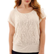 by&by Raglan-Sleeve Lace-Front Banded-Bottom Top - Plus