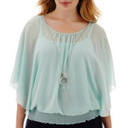 by&by Flutter-Sleeve Smocked-Hem Necklace Top - Plus