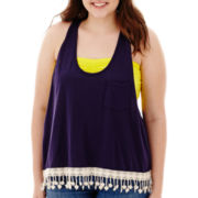 Arizona Fringe Pocket Tank Top - Juniors Plus
