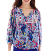 nicole by Nicole Miller® 3/4-Sleeve Print Peasant Blouse