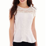 nicole by Nicole Miller® Short-Sleeve Lace Peplum Top