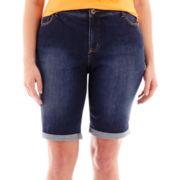 St. John's Bay® Secretly Slender Denim Bermuda Shorts - Plus