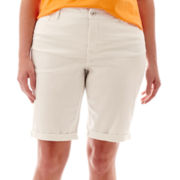 St. John's Bay® Secretly Slender Denim Bermuda Shorts - Plus