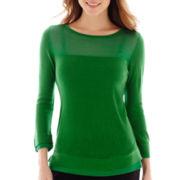 Worthington® 3/4-Sleeve Double-Hem Sweater